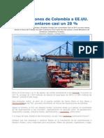 Exportaciones de Colombia a EE.uu Aumentaron en 20