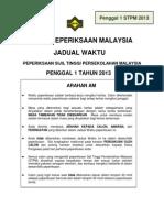 P1_Jadual Waktu Peperiksaan Penggal 1 STPM 2013_A