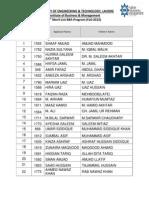 UET IBM BBA 4th Merit List 2012