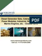 Diesel Generator Sets, Caterpillar XQ2000 Power Modules, Industrial, Natural Gas & Marine Engines, etc. - October 2012