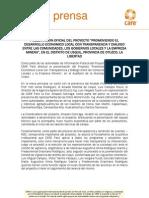 """PRESENTACION OFICIAL DEL PROYECTO """"PROMOVIENDO EL DESARROLLO ECONOMICO LOCAL CON TRANSPARENCIA Y DIALOGO ENTRE LAS COMUNIDADES, LOS GOBIERNOS LOCALES"""