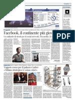 Il Corriere della Sera - Facebook, il continente più giovane