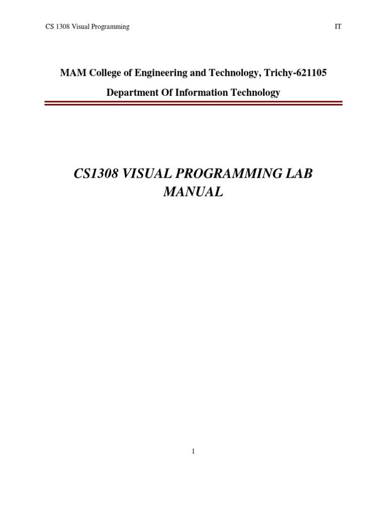 Visual Programming Lab Manual | Class (Computer Programming) | Application  Programming Interface
