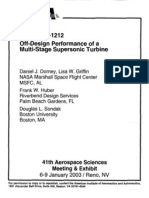 Off Design Perofmrance of Supersonic Multi Stage Turbines