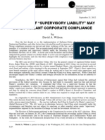 "SEC'S View Of ""Supervisory Liability"" May Deter Vigilant Corporate Compliance"