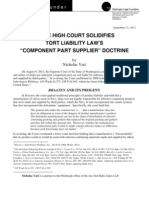 "State High Court Solidifies Tort Liability Law's ""Component Part Supplier"" Doctrine"