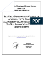 HHS OIG Audit of Acadiana Child Development Council