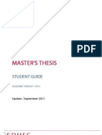EDHEC Master's Thesis Studentguide 2011-2012 Update September 2011(1)