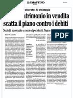 RassegnaStampa 6.10.12 - Tagli e patrimonio in vendita, scatta il piano contro i debiti
