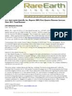 US Rare Earth Minerals, Inc. - 4/18/2012 Press Release