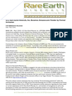 US Rare Earth Minerals, Inc. - 5/3/2012 Press Release