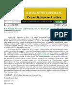 US Rare Earth Minerals, Inc. - USNNM Sept 20 Press Release