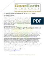 US Rare Earth Minerals, Inc. - 2/02/2012 Press Release