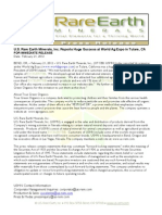 US Rare Earth Minerals, Inc. - 2/14/2012 Press Release
