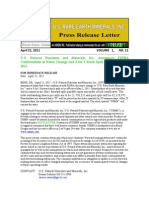 US Rare Earth Minerals, Inc. - 4/21/2012 Press Release