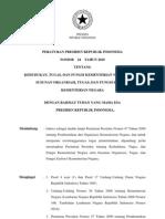2010-Perpres No 24 Th 2010 Ttg Kedudukan, Tugas, Dan Fungsi Kementerian Negara