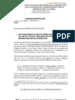 CARTA DE NIVELACIÓN DE LOS ESPECIALISTAS JUDICIALES COLOMBIANOS AL PRESIDENTE DEL CONGRESO SENADOR ROY BARRERAS MONTEALEGRE