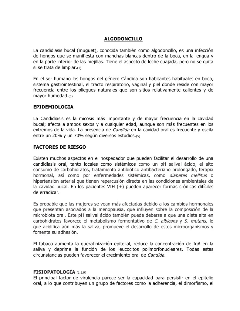 Aguda candidiasis (muguet) pseudomembranosa