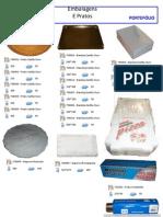 pratos naperons, caixas de cartão rolos aluminio