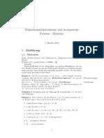 Skriptum Wahrscheinlichkeit und stochastische Prozesse