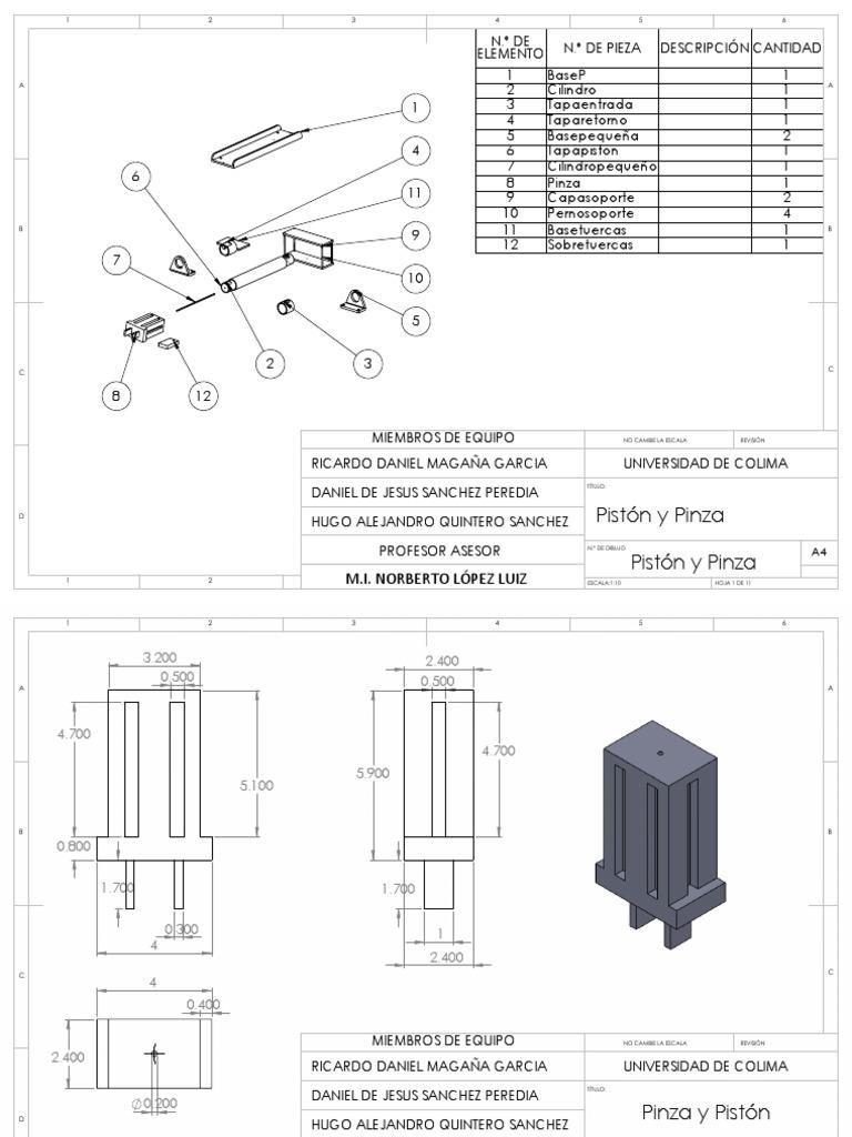 Pinza y Piston hidraulico solid works