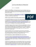 Auditan Reservas de Oro de La Reserva Federal de Nueva York