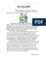 The Lonely Goldfish Third Grade Reading Comprehension Worksheet