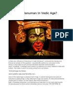 Who was Hanuman in Vedic Age?
