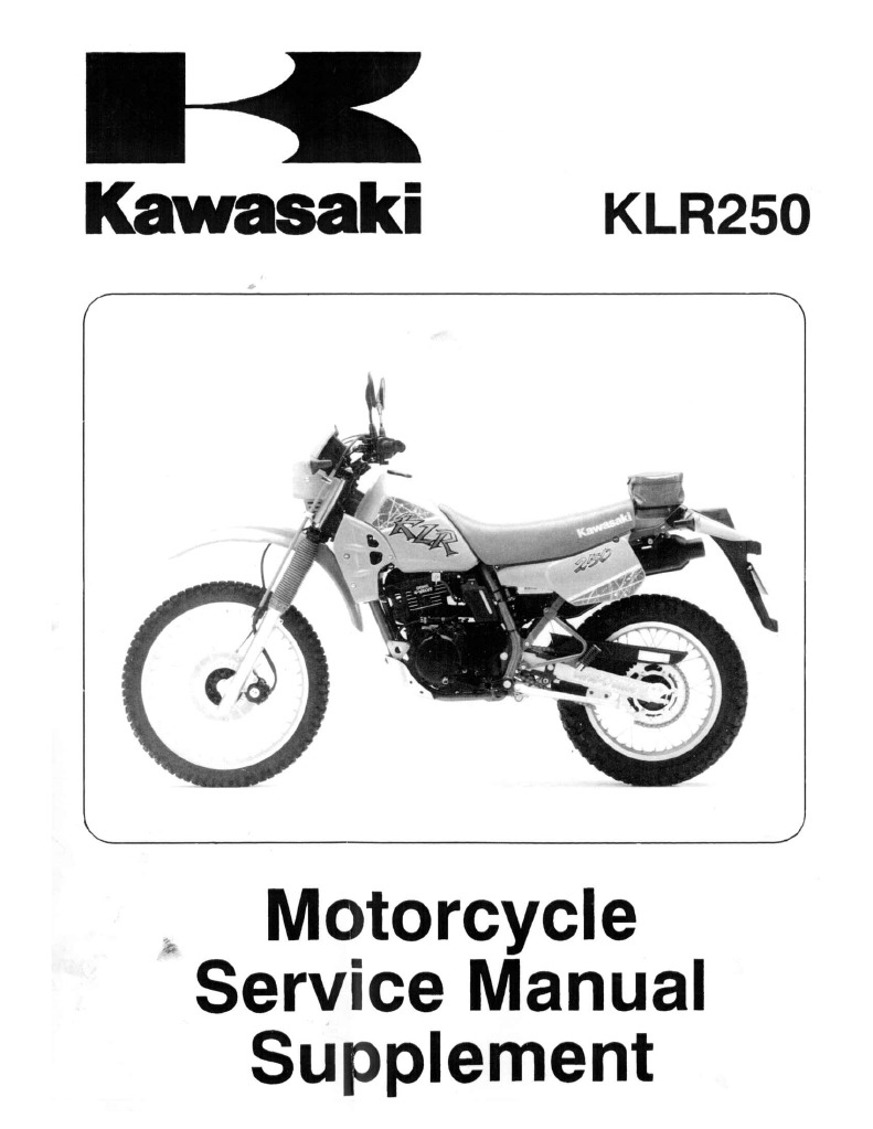 klr 250 supplement manual rh scribd com klx 250 shop manual klr 250 service manual