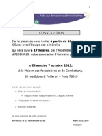 22 septembre - Rapport moral, d'activité et financier 2011 - AG du 7 octobre 2012