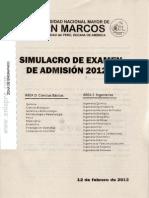 Simulacro Examen Admision UNMSM 2012 II D E