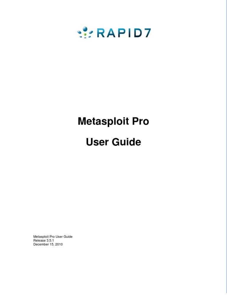 UserGuide Metasploit Pro | Areas Of Computer Science