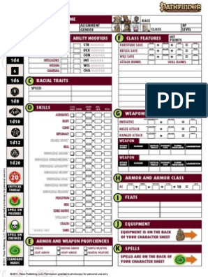 image regarding Printable Pathfinder Character Sheet titled Newbie Box - Persona Sheet