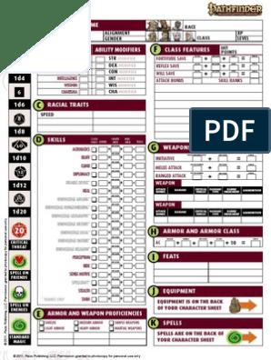 photo regarding Printable Pathfinder Character Sheet named Rookie Box - Identity Sheet