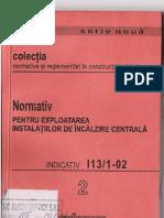 I13!1!02 - Normativ Pentru Exploatarea Instalatiilor de Incalzire Centrala