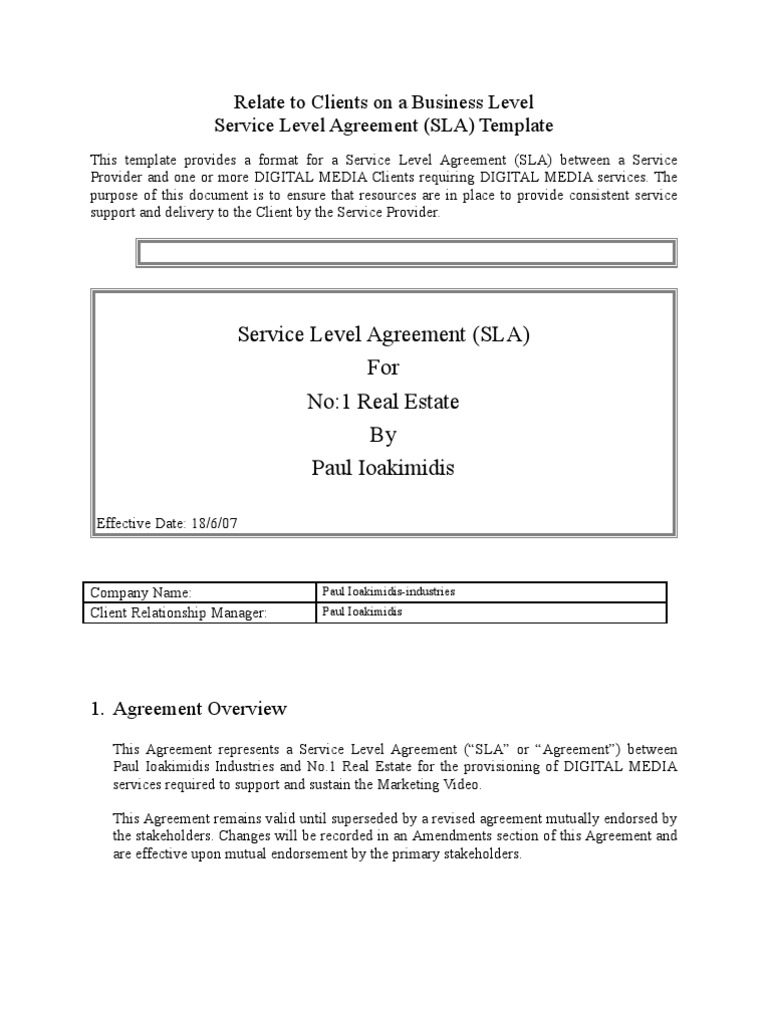 Service Level Agreement - Template | Service Level Agreement | Business