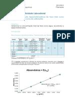 Determinação espectrofotométrica de Ferro total numa água
