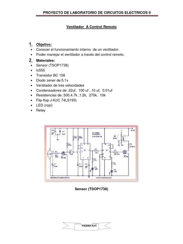 Circuito Ventilador : Ventilador manejado a control remoto