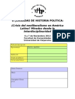 Formulario Ficha Inscripcion VI Jornadas de Historia Poltica