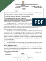 ORGANIZATIONAL BEHAVIOUR - LECTURE NOTES