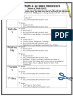 Weekly Math & Science Homestudy Schedule 10-8-12