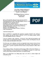 Sfb Speech Pcci 100912_38th Philippine Business Conference 09 October 2012 Manila Hotel