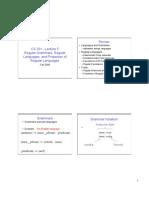Regular Grammar, Regular Languages and Properties of Regular Languages