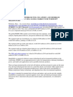 Global PEMFC MEA market to reach $977 million by 2015