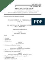 Prevention of Terrorism Regulations October 2011