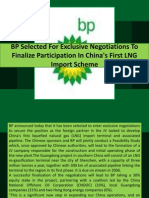BP Selected for Exclusive Negotiations to Finalize Participation in China's First LNG Import Scheme
