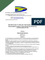 Decreto 2998 Ou R-105 - Produtos Controlados