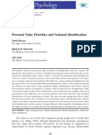 Personal Value Priorities and National Identification