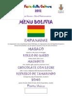 Menu Bolivia