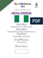 Menu Nigeria